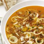Суп с чечевицей и пастой орекьетте