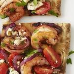 Пицца с креветками на гриле