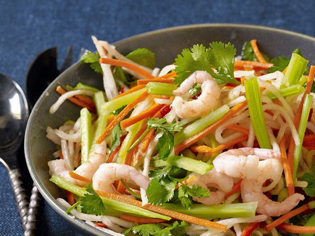 Фото Овощной салат с креветками