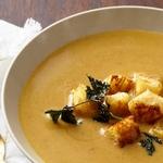 Суп-пюре из каштанов с жареной петрушкой