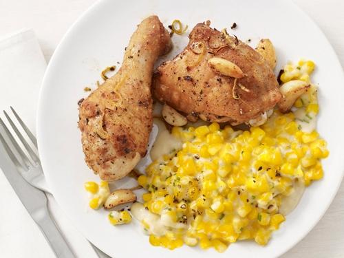 Фото Куриные ножки, запеченные в духовке с кремовой кукурузой