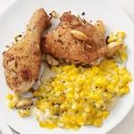 Куриные ножки, запеченные в духовке с кремовой кукурузой