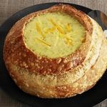 Суп-пюре с брокколи и сыром чеддер в хлебе