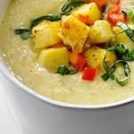 Кремовый суп-пюре из кукурузы и фасоли с полентой