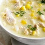 Куриный суп-пюре с кукурузой и пастой орзо