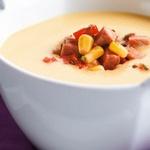Кремовый суп-пюре с кукурузой и ветчиной