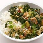 Индейка с листовой капустой и рисом