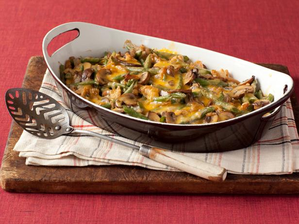 Кассероль со стручковой фасолью и грибами