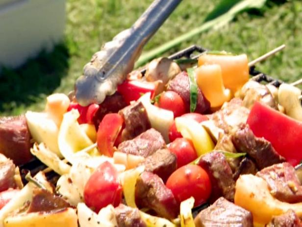 Кебаб из говядины, маринованной в соусе терияки