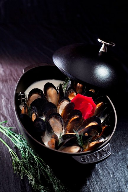 Мидии, тушеные в сливках «Романтический ужин»