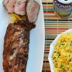 Свиная вырезка по-кубински и рис соффритто