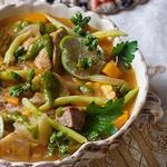 Кубинский суп «Ахиако» с корнеплодами и мясным миксом
