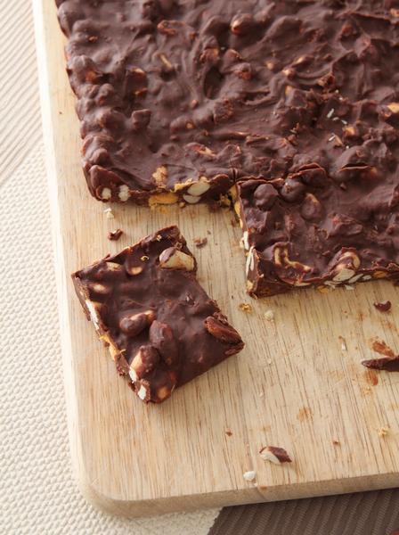 Ореховые батончики с шоколадом и пористой карамелью