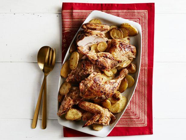 Курица, запеченная с апельсинами, картофелем и кардамоном