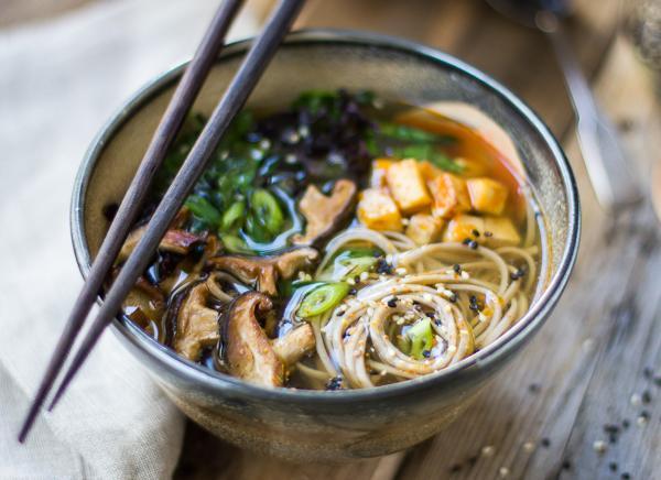 Фото Сытный мисо суп с грибами шиитаке