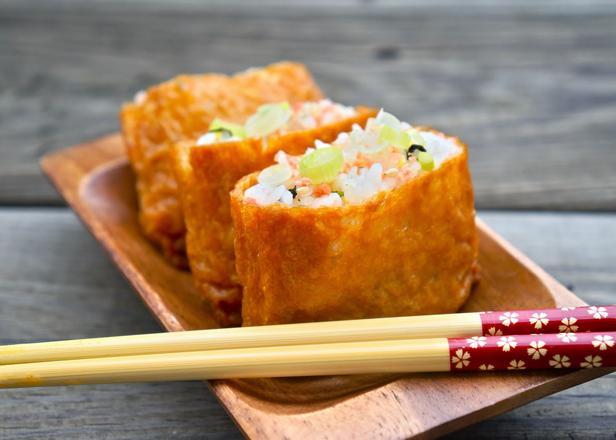 Фото Инари суши – тофу, фаршированный овощами и рисом по-японски