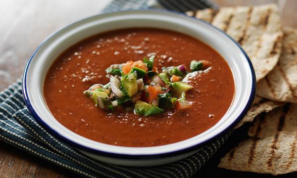 Фото Холодный суп-пюре из запеченного сладкого перца