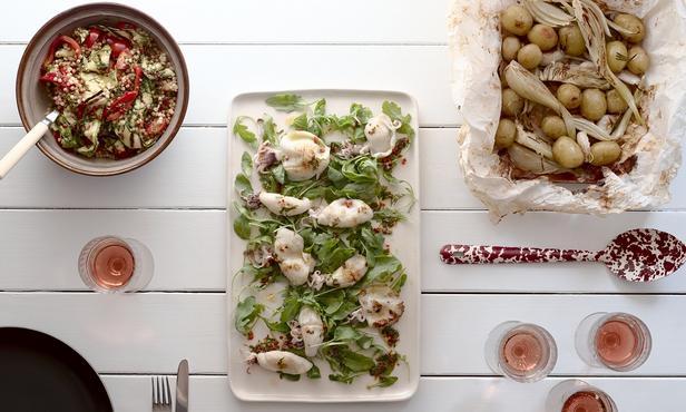 Кальмары барбекю по-гречески