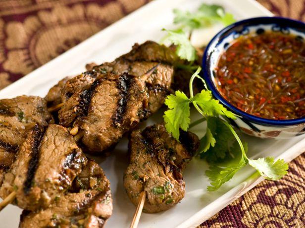 Шашлыки из свинины с соусом чили