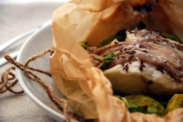 Палтус тушеный с овощами «Аль карточчио»