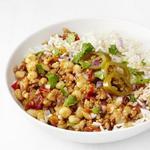 Рис с соусом чили из индейки с кукурузой