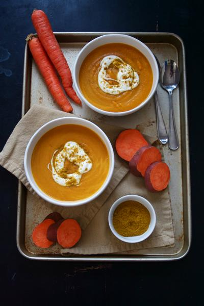 Фото Суп-пюре из кабачков и моркови с приправой карри
