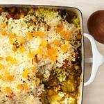 Куриная запеканка с кокосом и карри по-индийски