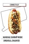 хот-дог с пармезаном, жареным чесноком, моцареллой, моллюсками