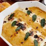 Запеканка из рулетов лазаньи с тыквой под сливочным соусом