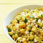 Салат с перловой крупой, кукурузой и цуккини