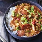 Быстрый суп гамбо с курицей-гриль