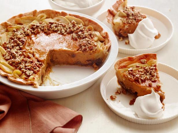Яблочно-тыквенный пирог с орехами пекан