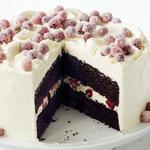 Шоколадно-миндальный торт с клюквой в сахаре