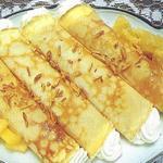 Сырные блинчики с жареными ананасами