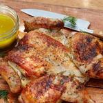 Плоская курица на гриле по-гречески