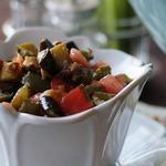 Томатный салат с баклажанами в панировке