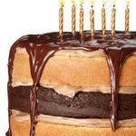 Праздничный торт из шоколадно-ванильного бисквита с кофейным ганашем