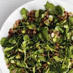 Салат из чечевицы с водяным крессом