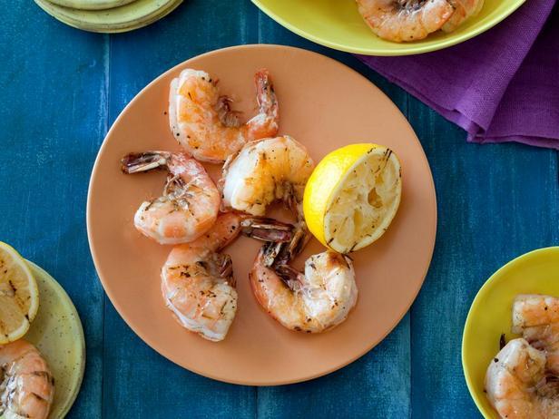 Фотография блюда - Жареные креветки с лимоном