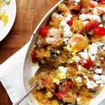 Тыква-спагетти с креветками по-гречески