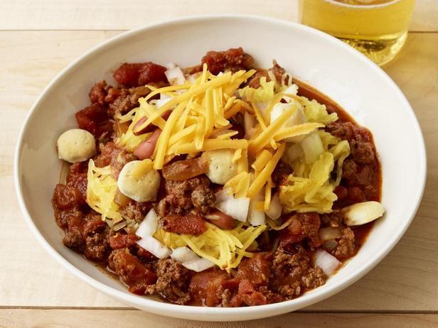Фотография блюда - Чили Цинциннати с тыквой Спагетти