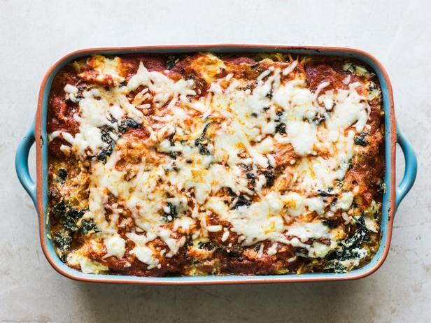 Фотография блюда - Лазанья с тыквой-спагетти и курицей