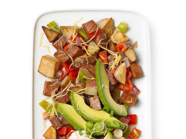 Фотография блюда - Поджаренный отварной картофель с солониной
