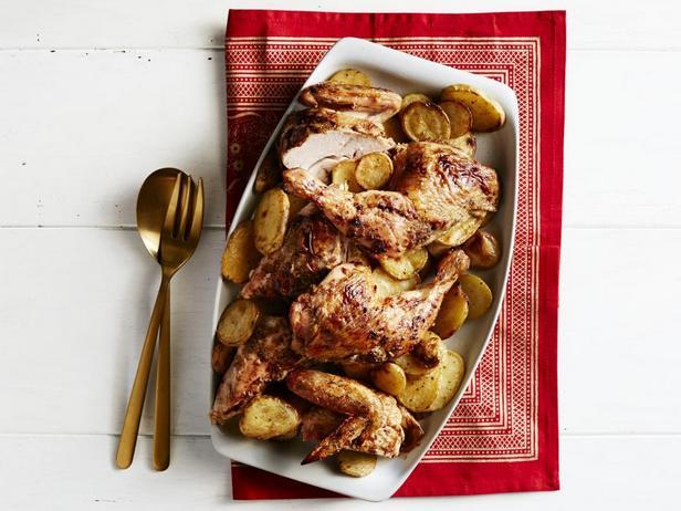 Фото блюда - Курица, запеченная с апельсинами, картофелем и кардамоном