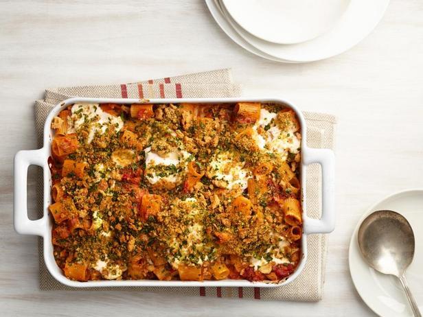 Фото блюда - Паста «Четыре сыра» с вялеными помидорами в духовке