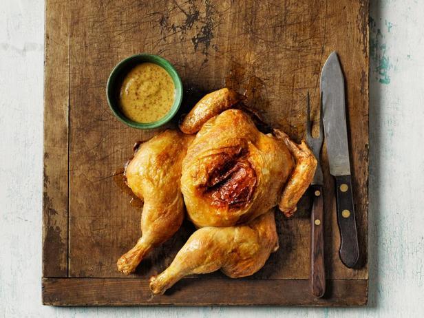 Фото блюда - Курица баттерфляй с горчичным соусом винегрет