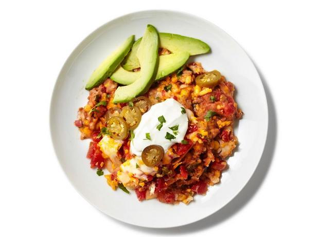 Фотография блюда - Запеканка с фасолью и мексиканскими чипсами, приготовленная в мультиварке