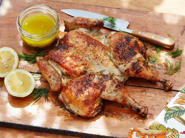 Фотография блюда - Плоская курица на гриле по-гречески