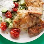 Куриные бёдра в духовке и кускус с укропом