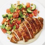 Жареная курица в приправе заатар с арбузным салатом